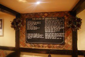 The Duke of Edinburgh restaurant specials board
