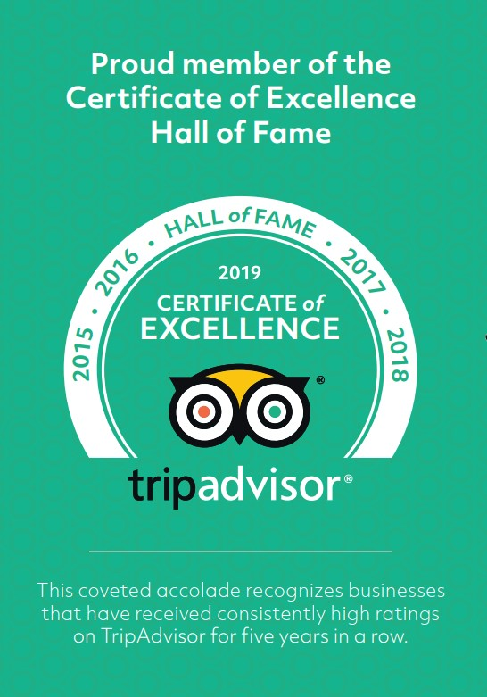 Trip Advisor - Certificate of Excellence - Hall of Fame
